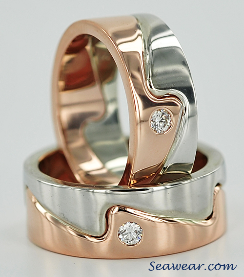 rose gold, white gold and diamond wave ring