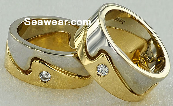 yellow and white gold wave ring