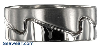 white gold two finish wave ring