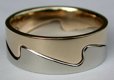 14kt two tone gold ocean waves ring