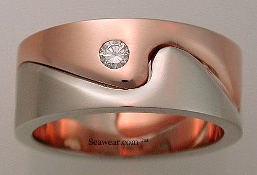rose and white gold ocean waves ring with diamonds
