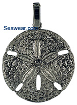 white gold sand dollar necklace pendant