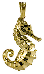14kt gold 3D full round Seahorse pendant
