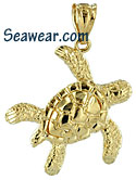 14kt small swimming sea turtle pendant