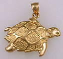 14k gold hawks bill turtle pendant