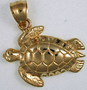 14kt loggerhead sea turtle necklace