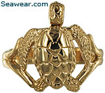 14kt gold sea turtle ring.