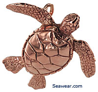 14kt rose pink gold green sea turtle honu