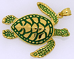 green enamel sea turtle