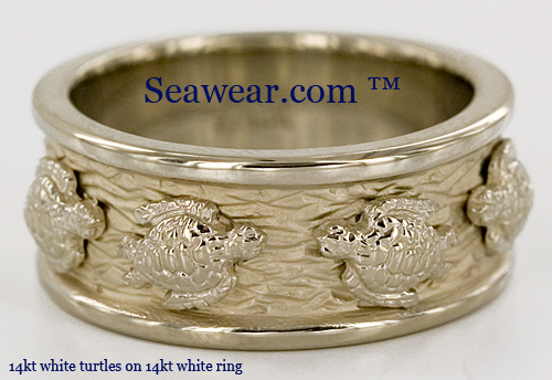 all white gold turtle ring