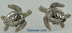 14k white gold green sea turtle earrings