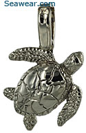 14k white gold baby green sea turtle necklace pendant jewelry