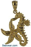 14kt gold finely detailed starfish and seahorse