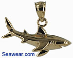 14k gold small great white shark necklace pendant