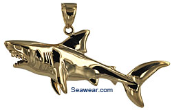3D great white shark pendant