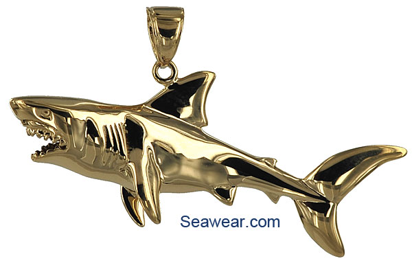 Shark jewelry 3d great white shark pendant aloadofball Choice Image