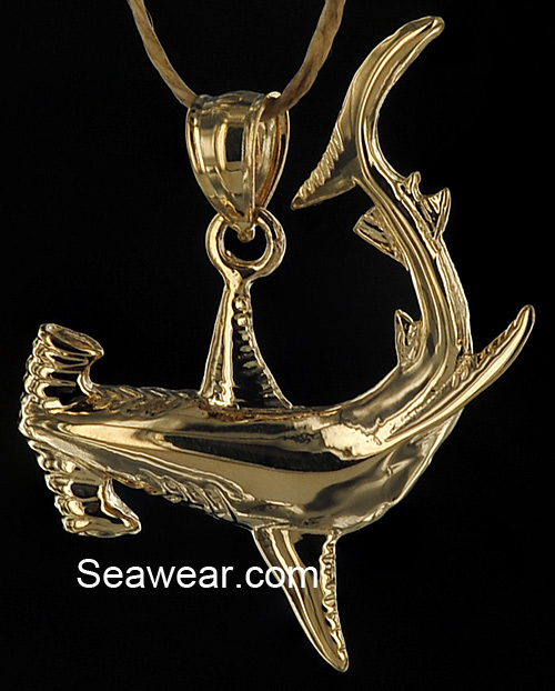 Shark jewelry gold hammerhead shark pendant aloadofball Choice Image