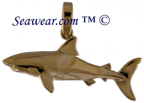 Shark jewelry 14k gold half round shark pendant aloadofball Choice Image