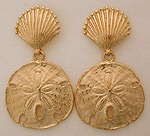 sand dollar and scallop shell earrings