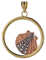 tri-color gold scallop shell circle pendant