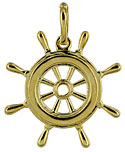14kt ship's steering wheel jewelry charm