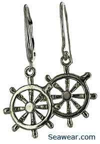 white gold leverback ships wheel earrings