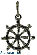 14kt white gold ships wheel necklace pendant charm jewelry