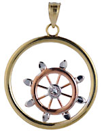 14kt tri color gold ships wheel