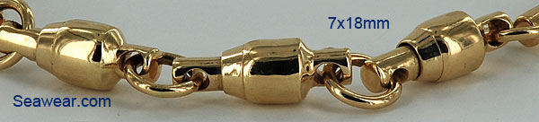 14k barrel bearing fishing swivel bracelet