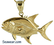 full round solid gold Florida Pompano fish jewelry necklace charm pendant