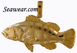 14kt hand made grouper fish pendant