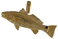 14kt hand made redfish pendant