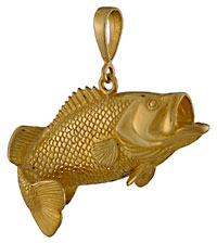 14k gold largemouth bass necklace pendant by Seawear.com
