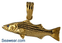 striped bass necklace pendant