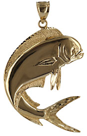 14kt high polished mahi mahi dolphin dorado fish pendant