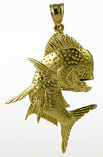 14kt ripping bull nose dolphin dorado necklace