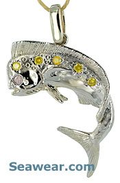 white gold bull nose dolphin with yellow and pink diamonds