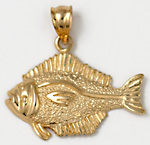 14kt baby halibut necklace charm