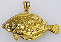 14kt halibut necklace pendant
