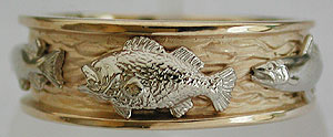 white gold large mouth bass on yellow gold ring