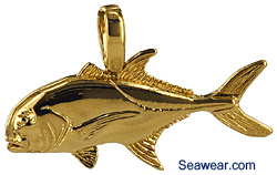 jack fish jewelry necklace charm pendant in 14kt gold