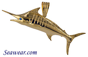 14k blue marlin necklace pendant
