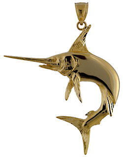14kt gold large high polish white marlin necklace pendant