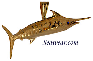 14k blue marlin giant by Peter Costello, necklace jewelry pendant