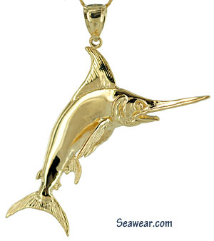 frull round white marlin jewelry necklace pendant