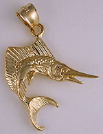 14k gold sailfish jewelry charm