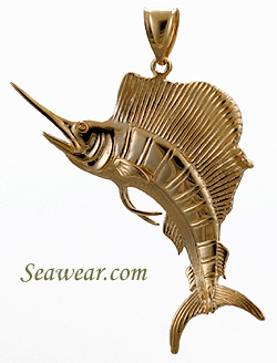 14lt full round 3D leaping sailfish pendant