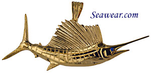 full round 3D 14k gold sailfish pendant by Peter Costello