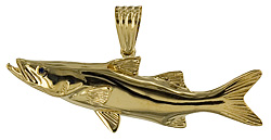14kt gold snook pendant with enamel stripe