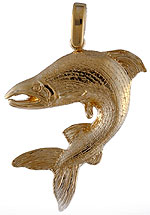 14k gold sock eye salmont pendant